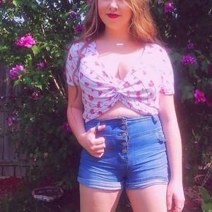 Forever21+ White & Red Floral Wrap Crop Top -J1